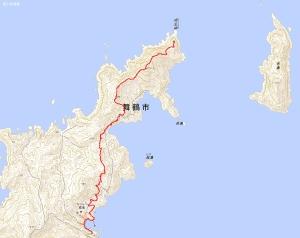 成生岬灯台へGPSログ(往路)