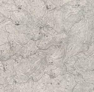 霊仙山 廃村集落 地形図